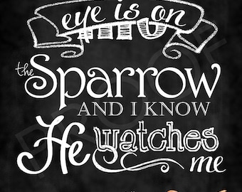 Chalkboard Art - His Eye is on the Sparrow
