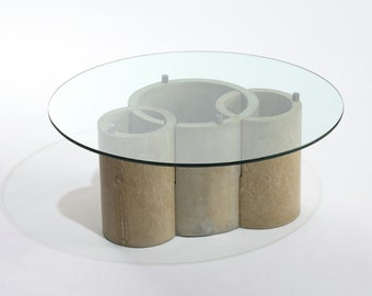 Concrete Coffee Table with Glass Top