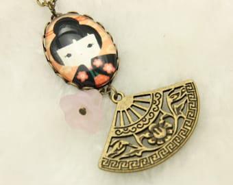 Japanese girl kokeshi Necklace 1825