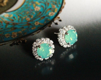 Swarovski Crystal Halo Stud Earrings in Pacific Opal and Clear Crystal