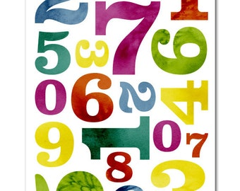 Nursery Art / Children's Decor - Numbers - Typography - 8x12""