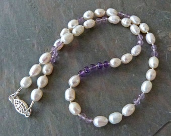 Asymmetrical Pearl and Amethyst Necklace, Real Pearls, Pink & Purple Amethysts, Handmade