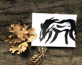 black and white horse ink illustration, fine art equestrian print, wild horse painting