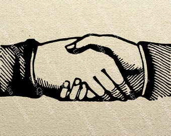 Hand Shake Steampunk Instant Download Digital Transfer Image for Iron On / 31