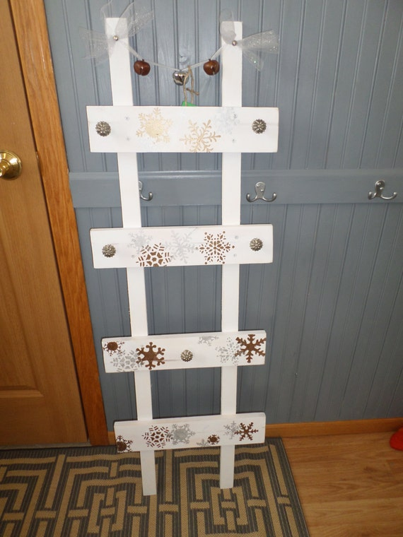 White Wood Stocking Holder Unique Ladder Rustic Shabby Chic