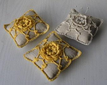 Pincushion with Irish Crochet Lace motif gift