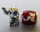 University Of Alabama Crimson Tide Football Team Logo And Big Al Elephant Mascot Beads For European Charm Bracelets