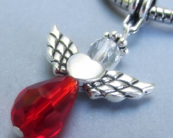 Ruby Red Crystal Angel European Charm Bead - Handmade Swarovski Crystal Pendant Charm For All European Charm Bracelets And Necklaces
