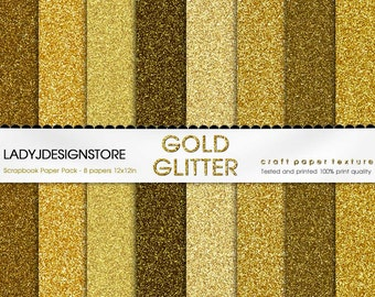 Gold Glitter Digital Papers - 8 Glitter Textures, Paper Pack, Instant Download, printable scrapbooking texture, gold, old gold, yellow