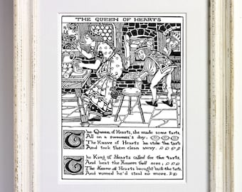 Queen of Hearts - Nursery Rhyme Black and White Art Print Childrens Bedroom Decor Nursery Old Picture Storybook Book Page 568 b1