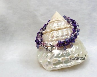 Beaded Chainmaille Bracelet, Violet, Pink and Frost Double Spiral Anodized Aluminum Chainmail Bracelet