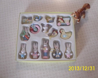 Boxed Set of Miniature Wood Painted Easter Bunny Rabbit Hanging Ornaments/Characters