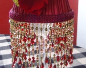 Elegant Red Beaded Fringe Lamp Shade - Chandelier or Candle Stick Shade - Lamp Shade Only