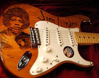 Custom Fender Guitar - Woodburned Jimi Hendrix