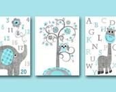 Canvas Alphabet Nursery Alphabet Numbers Nursery Numbers Baby Nursery Art Print Children Wall Art Baby Room Decor Grey Kids Print set of 3 /