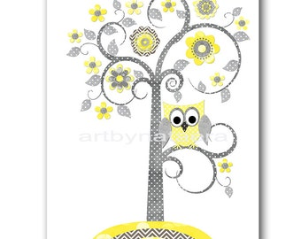 Tree Nursery Owl Nursery Kids Wall Art Baby Boy Nursery Decor Baby Nursery Print Children Art Print Nursery Print Boy Art Yellow Gray