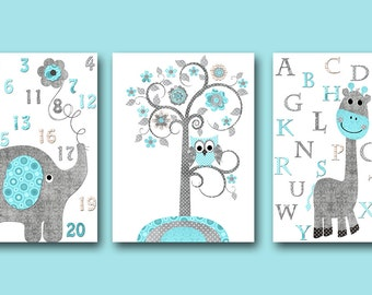 Baby boy girl nursery art print childrens wall art by artbynataera - Toile lumineuse enfant ...