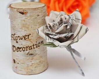 grooms flower, boutonniere, wedding boutonniere, wedding flower, wedding decor, old note paper, paper flowers, vintage wedding
