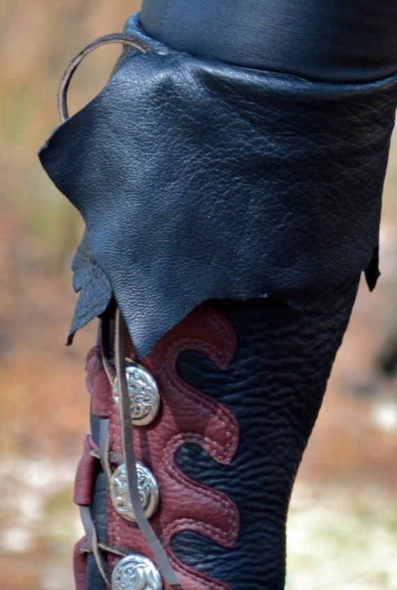 knee high custom viking boots with cuff custom by