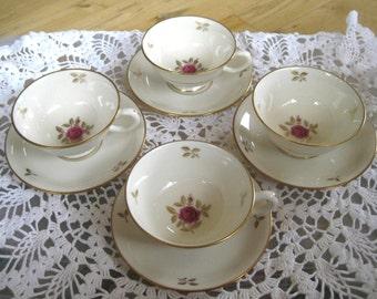 Lenox Rhodora Gold Backstamp, Set of Four Teacups and Saucers, ,Near Mint, 4 sets (8 pieces)