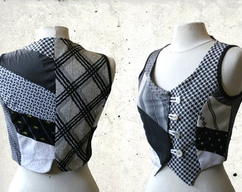 Sale, Tie Gilet, vest, size S/M  black and white, upcycled neckties, eco friendly, OOAK, Solmode, ties, short shirt, recycled men's ties