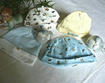 Baby Clothing - Baby Hats - Scull Caps - Nursery - Set of 4 -Toddler Child Hats - Vintage Baby Hats - Child's Clothing