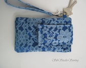 "Blue Lace Smartphone Wristlet, Fits iPhone 5 and Smartphones up to 5.25"" x 2.75"", Sky Blue Lace over Sapphire Blue Satin, Pocket, Keyring"