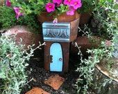 Fairy Door, opens, hinges, Unique gifts for someone special. distressed turquoise blue.