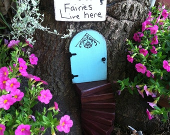 Fairy Garden, Gift set, Fairy Door, Miniature Garden, Garden Decor, Gifts for Her, Housewarming, Birthday, Outdoor, Tree, Blue Fairy Door
