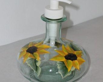 Hand Painted Sunflowers Genie Pump Bottle