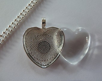 10 xDIY silver plated heart pendant kit