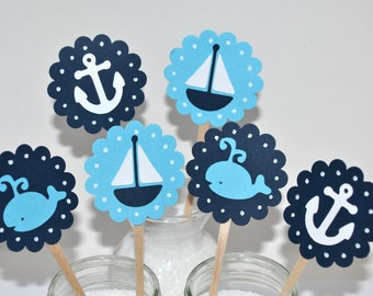 12 Nautical Cupcake Toppers / Nautical Invitation/Nautical Baby Shower / Sailboat Topper / Sailboat Cupcake Toppers / Whale Party