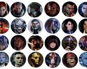 Mass Effect Magnets, Bottle Cap Character Magnets, Mass Effect 2, Mass Effect 3, Garrus, Wrex, Liara, Female Shepard, Mordin, Ashley, Kaidan