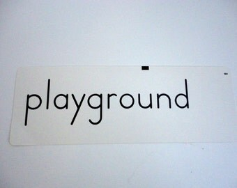 Vintage Word Flash Card Playground 1960s Paper Supply Altered Art Home decor Child's room
