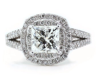 Double Halo Engagement Ring, Cushion Cut Moissanite Center with diamonds 14k Gold - Ring Name: Love First