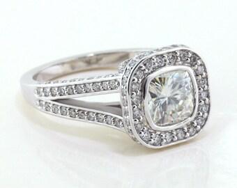 Cushion Cut Moissanite Engagement Ring Bezel Set Split Shank