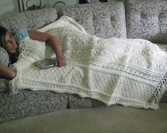 Cream Aran crocheted afghan/ throw