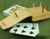 Compact Leather Cribbage Board - Hand Sewn, Blonde