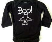 Baby Halloween Long Sleeve Oneseie Boo! with Bat