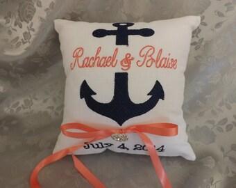Anchor  Ring Bearer Pillow,ring bearer pillows, ring pillow, wedding pillow, custom, personalized, embroidery embroidered monogram, keepsake