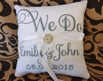 Ring Bearer Pillow, embroidered ring bearer pillow, custom pillow,personalized, wedding pillow, ring pillow, monogrammed, we do pillow,