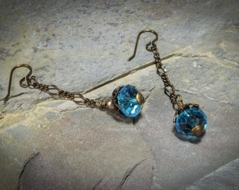 Art Deco Inspired Turquoise Crystal with Pearls Earrings