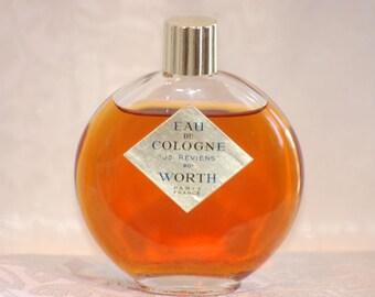 Vintage Je Reviens Worth Lalique Signed Bottle 2-1/4 oz. Eau de Cologne