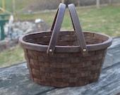 Garden gathering basket medium Oval Walnut wood with handles