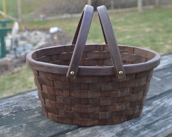 Garden gathering Easter basket medium Oval Walnut wood with handles