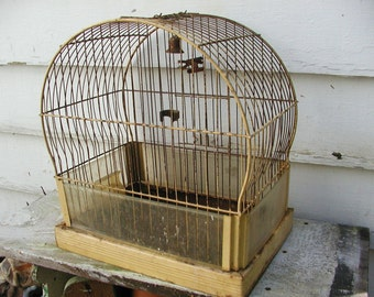 Vintage Birdcage Shabby Chippy Mustard Paint
