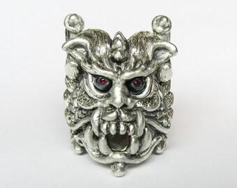 Mystical Mid-Evil, Hand-Carved, Handmade Sterling Silver Gargoyle Ring, Pearls, Rubies, Quartz, Pyrite, LORD GAR