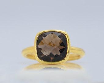 Smoky Quartz Ring - Gemstone Ring - Stacking Ring - Gold Ring - Cushion Cut Ring - bezel set ring - smoky quartz jewelry