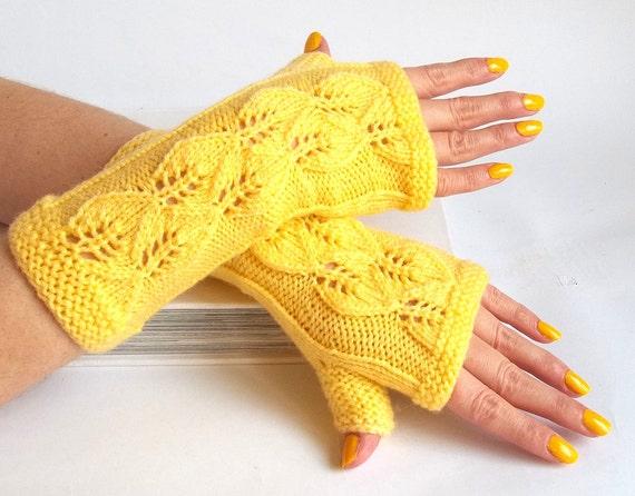 SALE - 75%OFF. Yellow Knit Fingerless Gloves. Knit Mittens. Knitted Wrist Warmers. Hand Knit Gloves. Fingerless Mittens. Long Gloves.