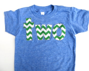 lowercase two Birthday Shirt  in short sleeve athletic blue with kelly green chevron for 2 year old